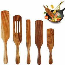 Wooden Spurtles Set 5 Pieces Kitchen Tools Natural Teak Wood Cookware Spatula