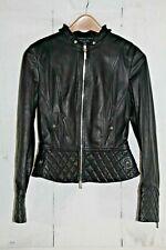 Karen Millen Black Quilted Black Leather Jacket Coat Moto/Biker Sz UK 10 US 6
