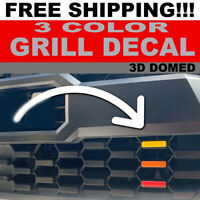 Tri-color 3  Grill Decals 3D Domed For 2016-2020 Toyota Tacoma Trd Pro