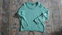 Charter Club 2 Ply 100% Cashmere Mint Green Sweater Womens XL, Detailed Neckline