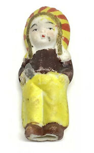 """Antique Japan Bisque Porcelain Miniature Baby Doll Native American Indian 2.5"""""""