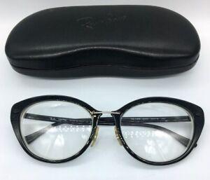 Ray-Ban Eyeglass Frames LightRay 54-18 140 Black Cateye RB7088 Black