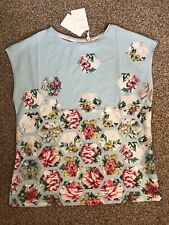 TED BAKER PATCHWORK WOVEN FRONT  TEE Ladies Top Size 2 UK10 BNWT RRP£59 Pale Blu