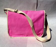 Heavy Duty Pink Canvas Messenger Shoulder Tote LapTop Briefcase Fashion Bag