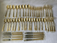 Japanese New Old Stock Elegance Service For 8  Flatwear Gold Plated Silverware