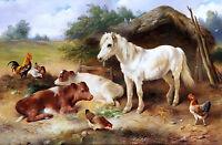 Corner of Farmyard Painting by Walter Hunt Art Reproduction