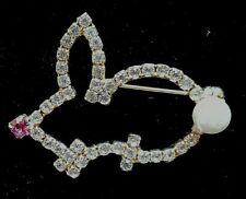 Stunning Austrian Crystal Bunny Rabbit Pin Brooch New Vtg