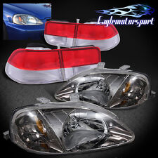 1999-2000 Honda Civic 2DR Gunmetal Headlights/Red Clear Tail Lamp