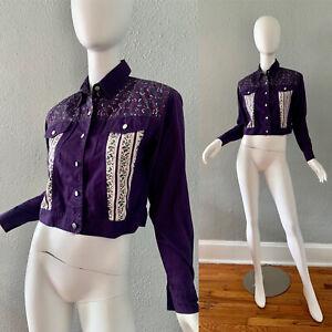 Vintage 80s Purple Western Floral Grunge Cotton Button Crop Top Shirt S