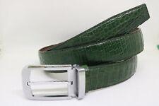 Green Genuine Alligator Crocodile Leather Skin Men Belt No-join W: 3.2 cm