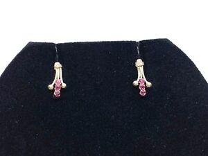 Small Vintage Sterling Silver Ruby Stud Earrings