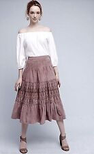 NIB Anthropologie Muted Mauve Suede Lazer Cut Tier Ruffle Midi / Maxi Skirt 10