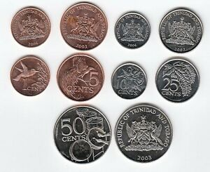 Trinidad Set of 5 Coins - 1 to 50 Cents/Various Dates