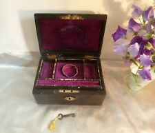 Late Victorian Morrocan Leather Cased Jewellery Box-Working Lock & Velvet Lined