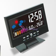 Colorful LCD Digital Thermometer Hygrometer Alarm Clock Voice Control Desktop
