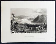 1842 Bartlett Antique Print View of Lake Massawippi, Memphremagog, Quebec Canada