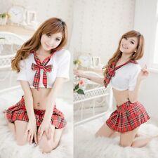 Women's School Girl Outfit Fancy Dress Costume Uniform Plaid Skirt Sexy Lingerie