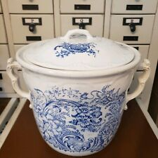 ANTIQUE CHAMBER POT EDWIN BENNETT Bona Fama Melior Zona Aurea BLUE WHITE Pottery