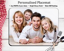 Personalised Table Placemat - Any Photo / Text Dinner Mat - MDF GLOSSY WOOD