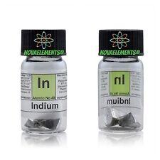 Indio metallo elemento 49, lucenti pezzi 5 grammi 99,99% in vial con etichetta