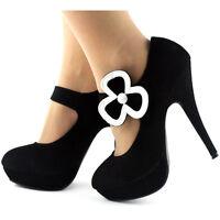 Ladies Black Shamrock Leaf Mary Jane Platform Party Shoes Size 2.5/3/4/5/6/7/7.5