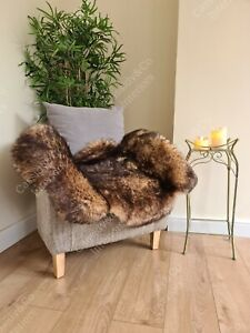 Genuine Real Sheepskin Rug White Spiced Brown Soft Fluffy Wool LARGE 100+cm