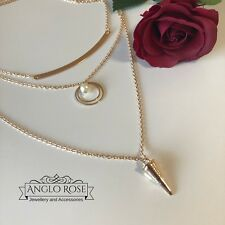 Womens Necklace 3 Layered Chain Gold Plated Pearl Trending New Gift AU Seller