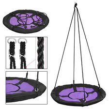 """40"""" Saucer Round Oxford Detachable Tree Swing Giant  w/Safe PE Rope - Purple"""