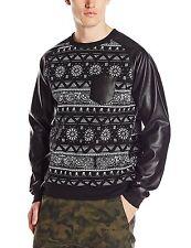 Southpole Men's All Over Bandana Print Raglan Crew Neck Fleece Sweatshirt, Black