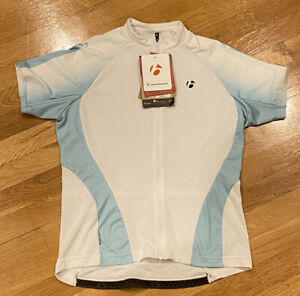 Bontrager Womens Bike Cycling Jersey, White NWT Short Sleeves Full Zipper L