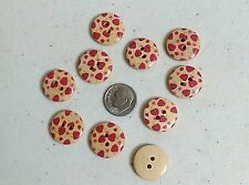 """Lot of 10 STRAWBERRIES 2-hole Wood Buttons 3/4"""" (20mm) Scrapbooking Craft (294)"""