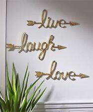 Set of 3 - Live Love Laugh Sculpted Iron Sentiment Wall Decor w Arrow Detailing