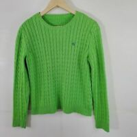 Ralph Lauren Neon Green Chunky Cable Knit Sweater Women's Size M-L