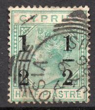 """Chipre 1886 sg29a 1/2 sobre 1/2pi Verde Esmeralda Corona Ca grandes """" 1"""" a la izquierda"""