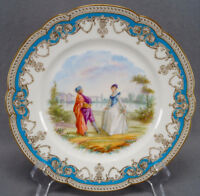 Old Paris Sevres Style Hand Painted Courting Couple Celeste Blue & Gold Plate A