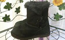 Girls Cayon River Blues Black Leather Suede/Faux Fur Slip On Ankle Boots Sz 12M