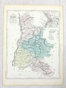 1881 Antique French Map Valence Drome France Old Hand Coloured Engraving
