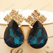 3.5cm CLIP ON aqua blue BIG CRYSTAL teardrop EARRINGS gold pltd GLASS rhinestone
