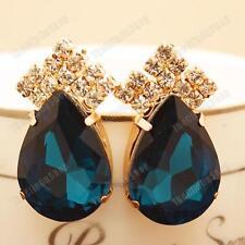 3,5 cm clip su Aqua Blue Big Crystal Orecchini a Goccia Oro Pltd Vetro Strass