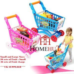 Kids Childrens Shopping Trolley cart Play Set Toy Gift Plastic Fruit 52 PCS