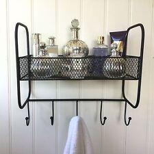 Vintage Style Bathroom Shelf Unit Rack Towel Hooks Storage Basket Shabby Chic