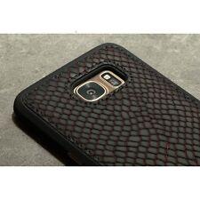 hochwertig GOLDBLACK Echtleder Case Backcover Samsung S7 EDGE G935F schwarz rot