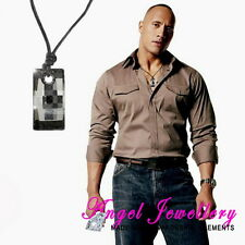 Men's Dog Tag Necklace Swarovski Crystal Pendant Adjustable Italian Leather