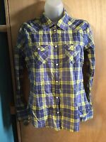 American Eagle Womens Favorite Fit M Plaid Button Down Pearl Buttons Blue Yellow
