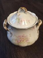 Theodore Haviland Limoges France Handled Floral Sugar Bowl w/ Lid Gold Trim VTG