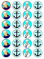 X24 SAILOR BIRTHDAY CUP CAKE TOPPERS DECORATIONS ON EDIBLE RICE PAPER