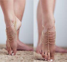 Women Boho Barefoot Sandal Anklet Tassel Gold Ankle Bracelet Foot Chain