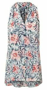 "Cabi #5537 ""Stem Blouse"" Sleeveless Floral Print V-Neck Blouse w/Keyhole Back XS"