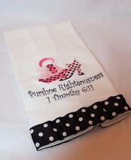 Purshoe Righteousness White Black Polka Dot Pink Bag & Shoe Hollywood Glam Towel
