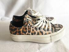 Converse All Star lift Ox Trainers Leopard Print size UK 3 EUR 35 nuevo